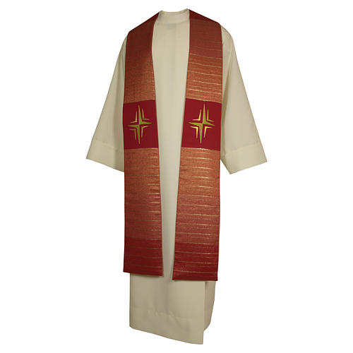 Clergy Stole in pure wool, stylized cross, double twisted yarn 2
