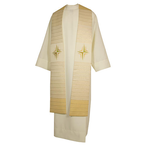 Clergy Stole in pure wool, stylized cross, double twisted yarn 3