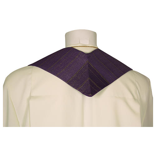 Clergy Stole in pure wool, stylized cross, double twisted yarn 5