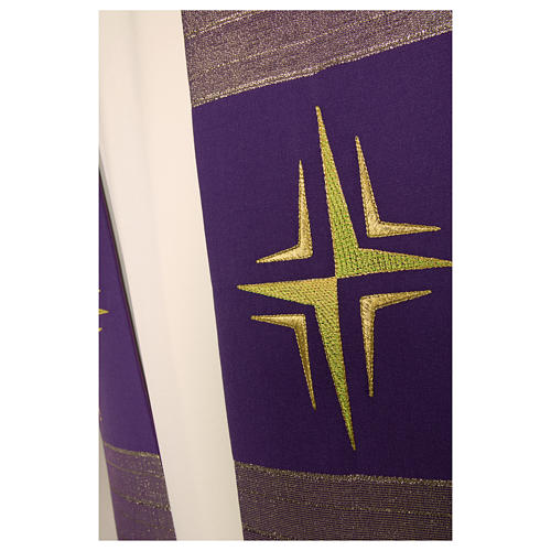 Clergy Stole in pure wool, stylized cross, double twisted yarn 6