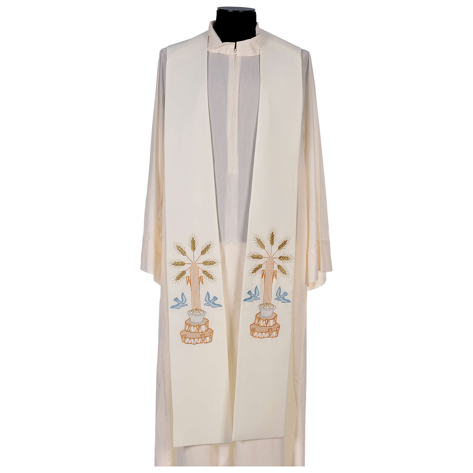 Clergy Stole in 100% polyester with loaves and doves 4