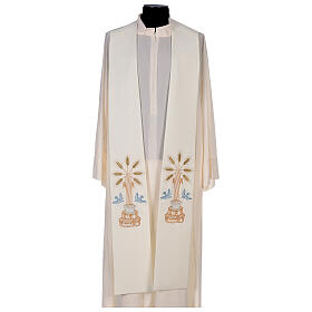 Clergy Stole in 100% polyester with loaves and doves s1