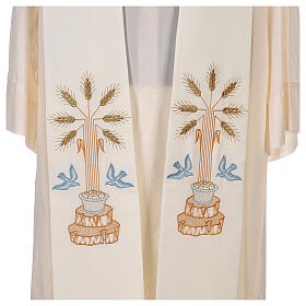 Clergy Stole in 100% polyester with loaves and doves s2
