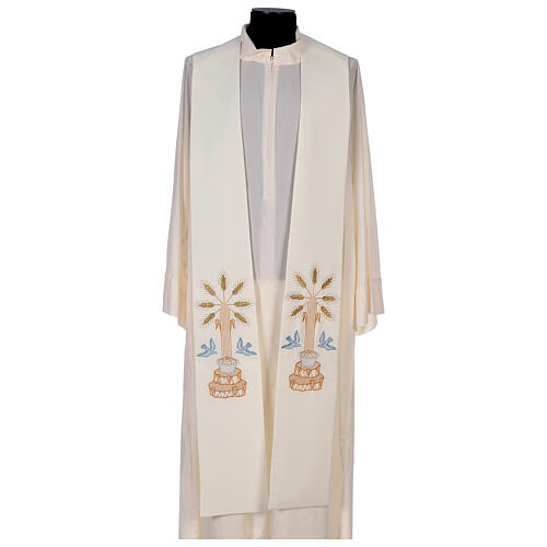 Clergy Stole in 100% polyester with loaves and doves 1