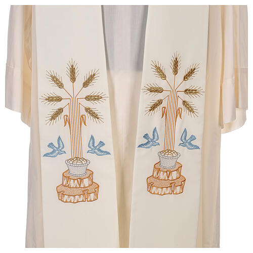 Clergy Stole in 100% polyester with loaves and doves 2