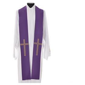 Pastor Stole in 100% polyester, crosses s3