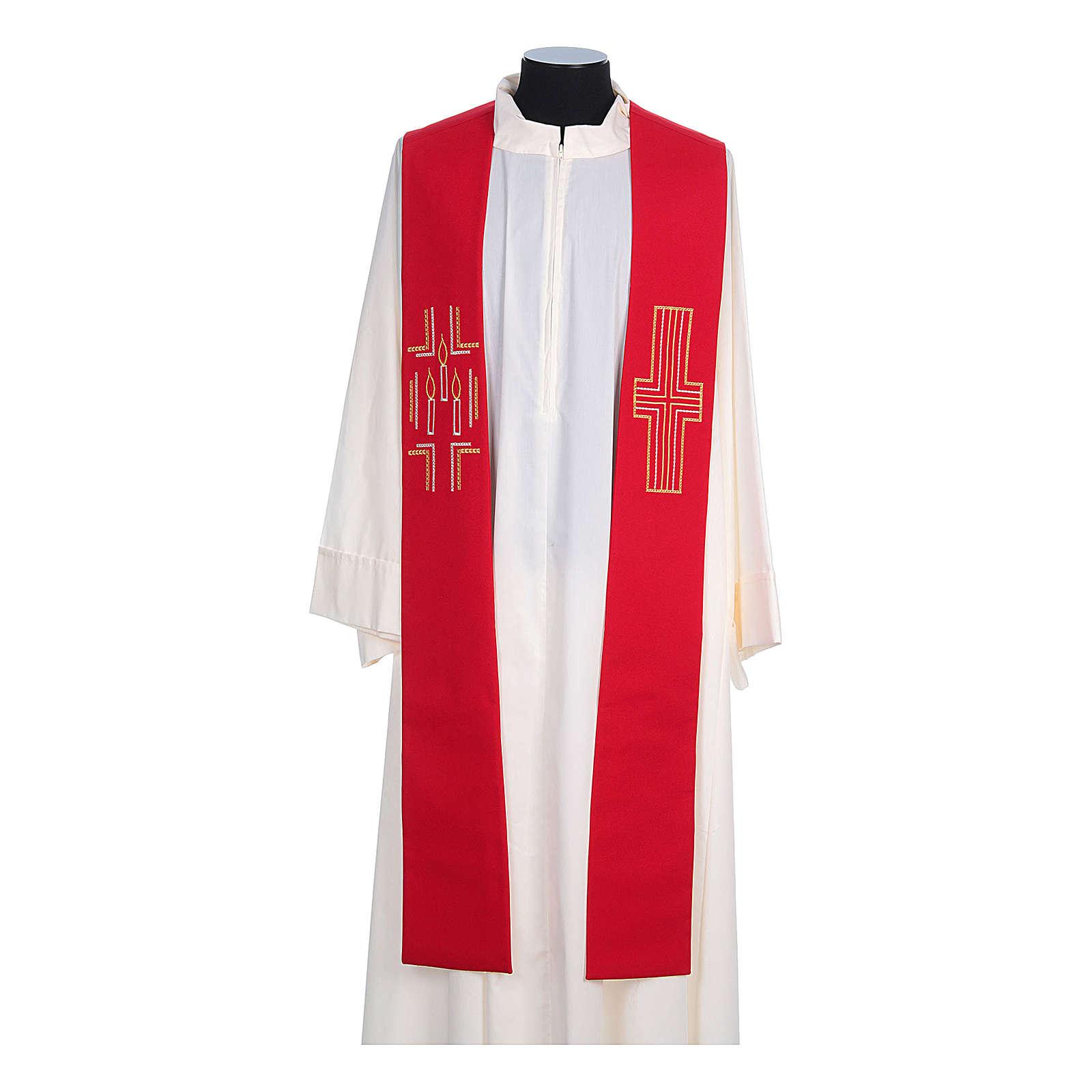 Etole liturgique 100% polyester croix bougies 4