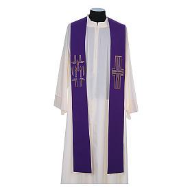 Etole liturgique 100% polyester croix bougies s5