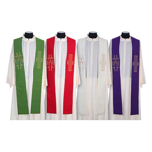 Etole liturgique 100% polyester croix bougies 1