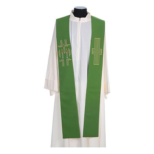 Etole liturgique 100% polyester croix bougies 2