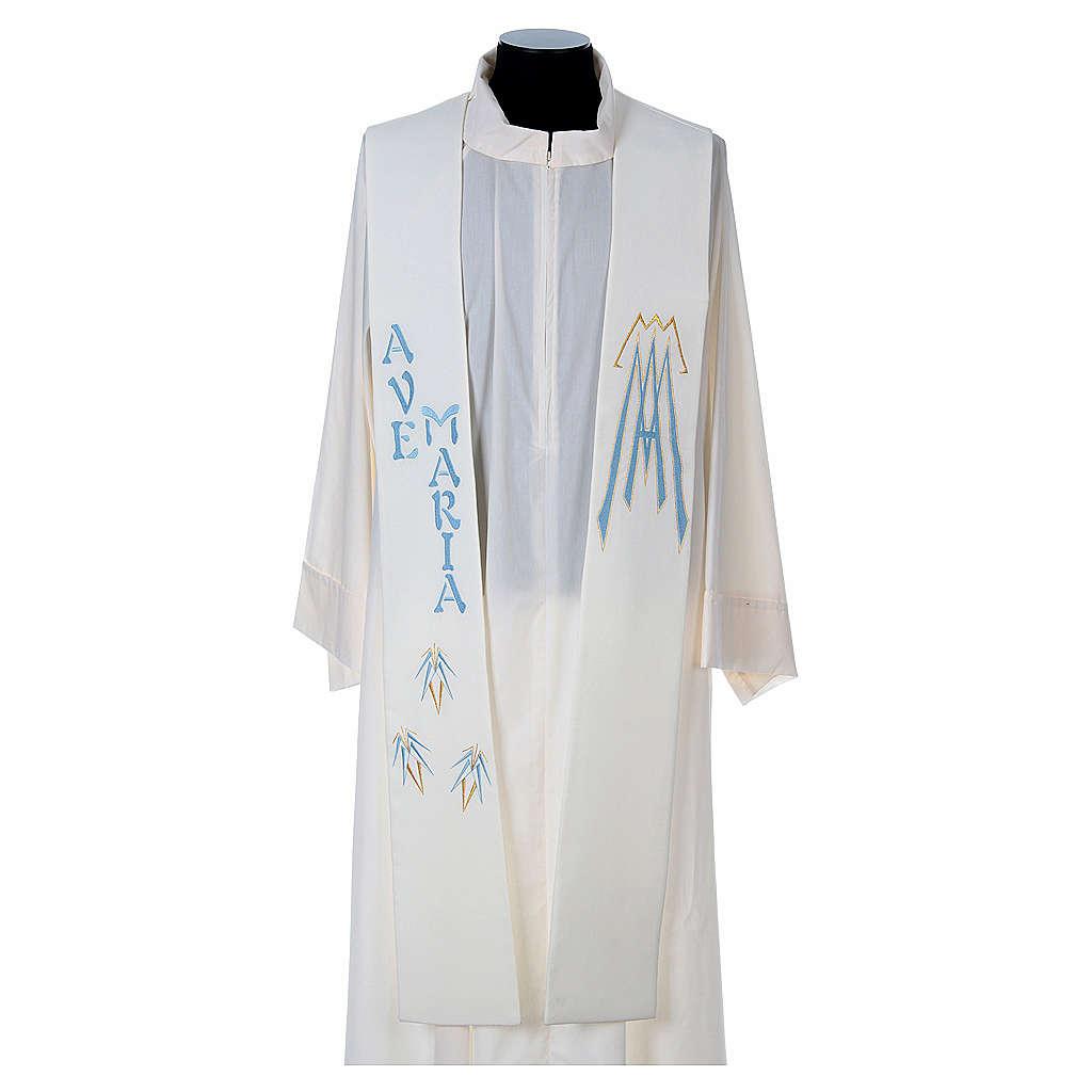 Estola 100% poliéster Ave María y bordado mariano 4