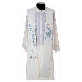 Estola 100% poliéster Ave María y bordado mariano s1