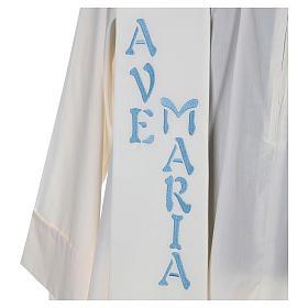 Estola 100% poliéster Ave María y bordado mariano s2