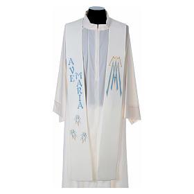 Estolas: Estola 100% poliéster Ave María y bordado mariano