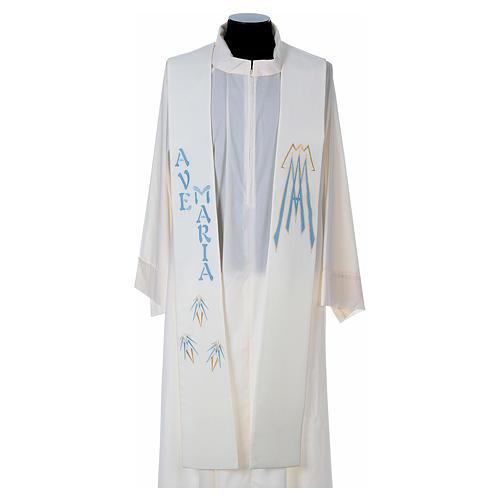Estola 100% poliéster Ave María y bordado mariano 1