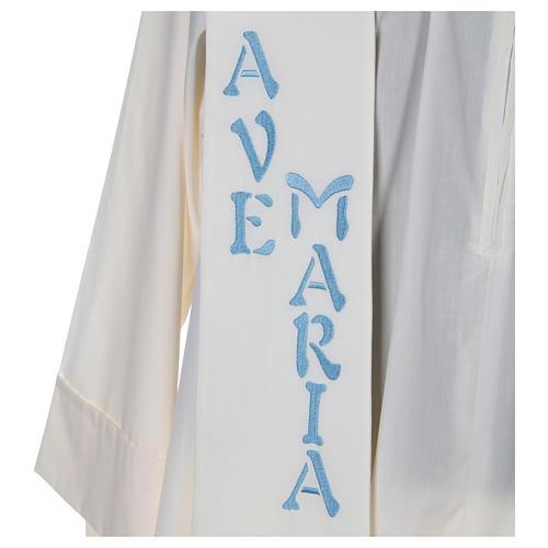 Estola 100% poliéster Ave María y bordado mariano 2