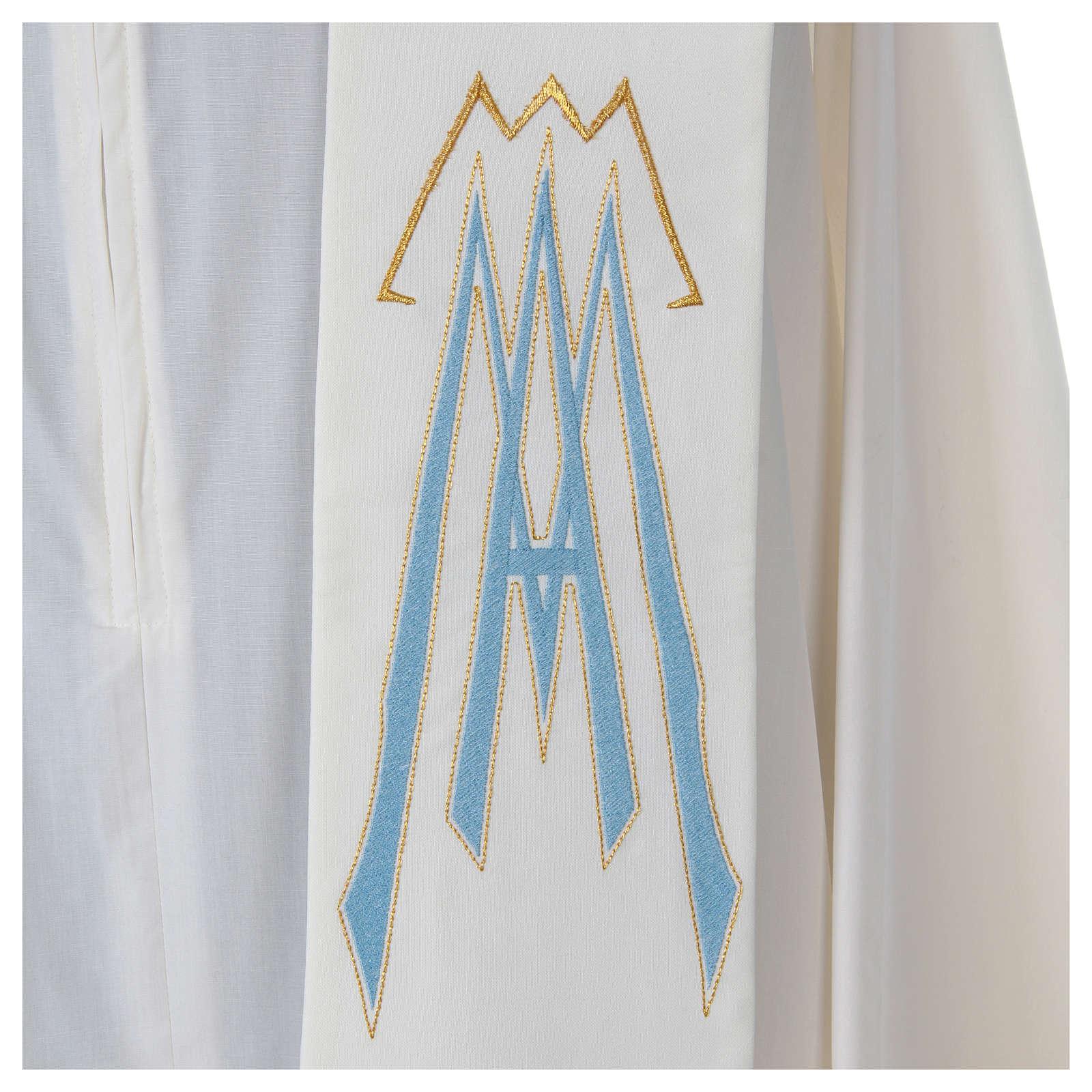 Stolone 100% poliestere ricamo mariano Ave Maria 4