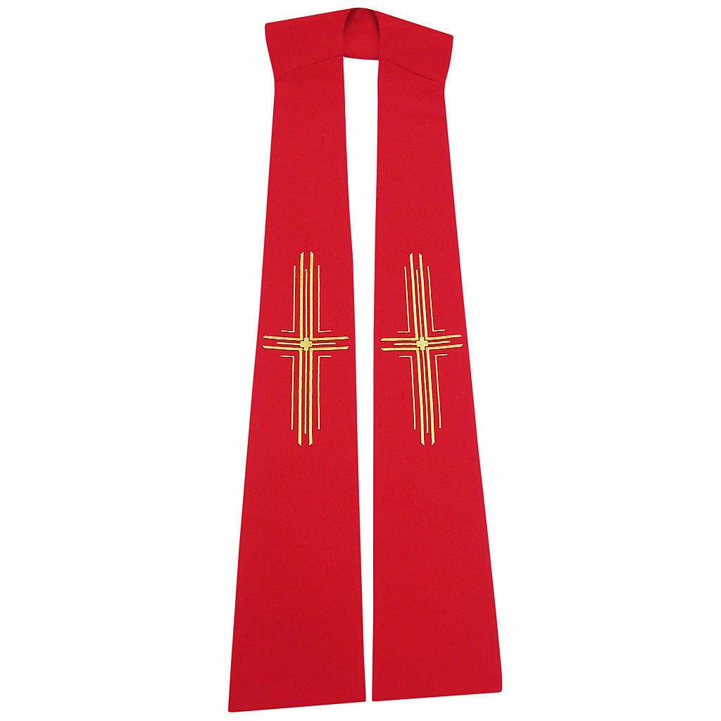 Stuła szeroka z krzyżami stylizowanymi 100% poliester 4