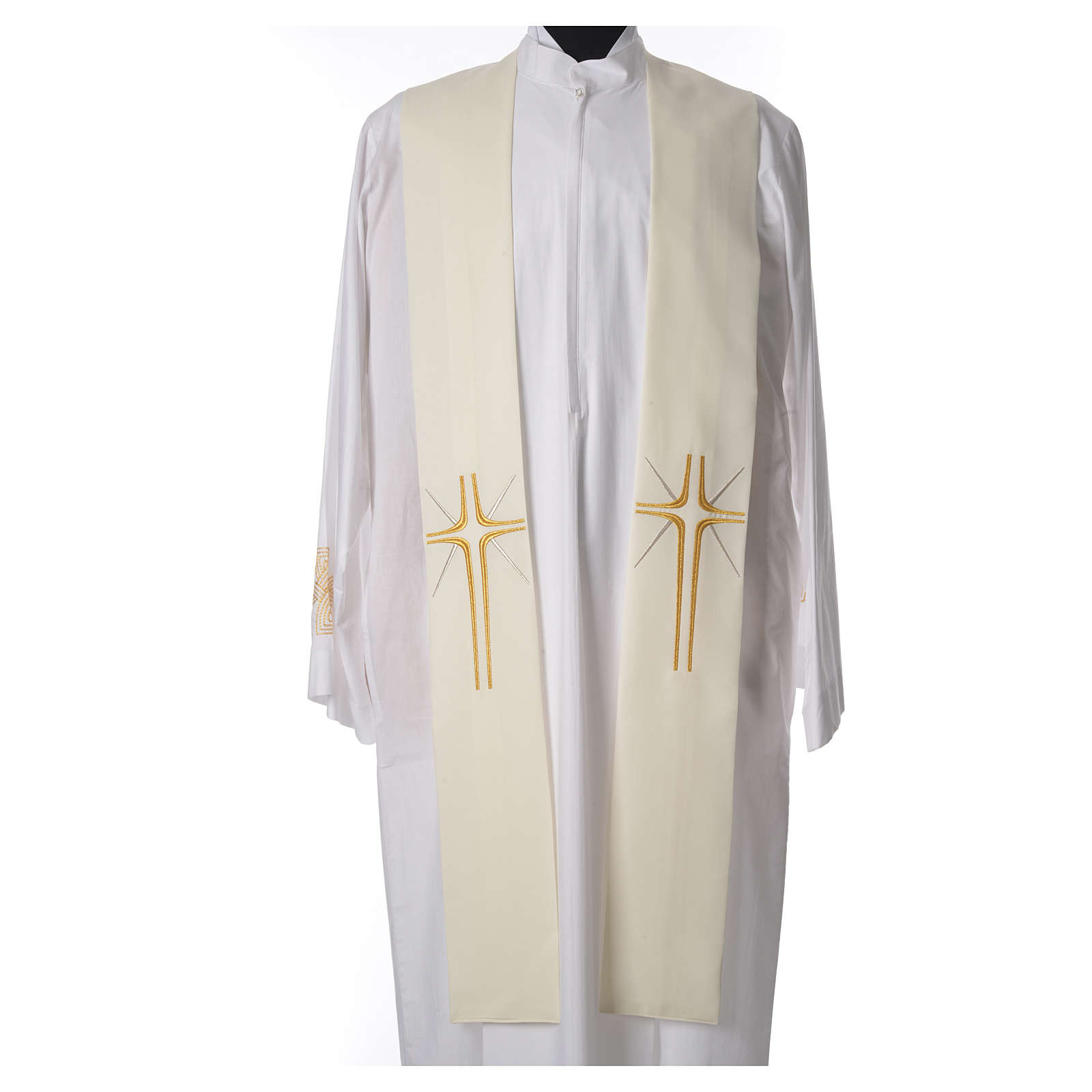Etole liturgique 100% polyester croix et rayons 4