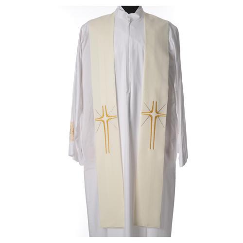 Etole liturgique 100% polyester croix et rayons 3