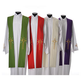Minister Stole in 100% polyester with cross and rays s1