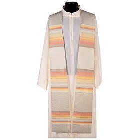 Étoles liturgiques: Etole 100% laine brossée double retors à rayures