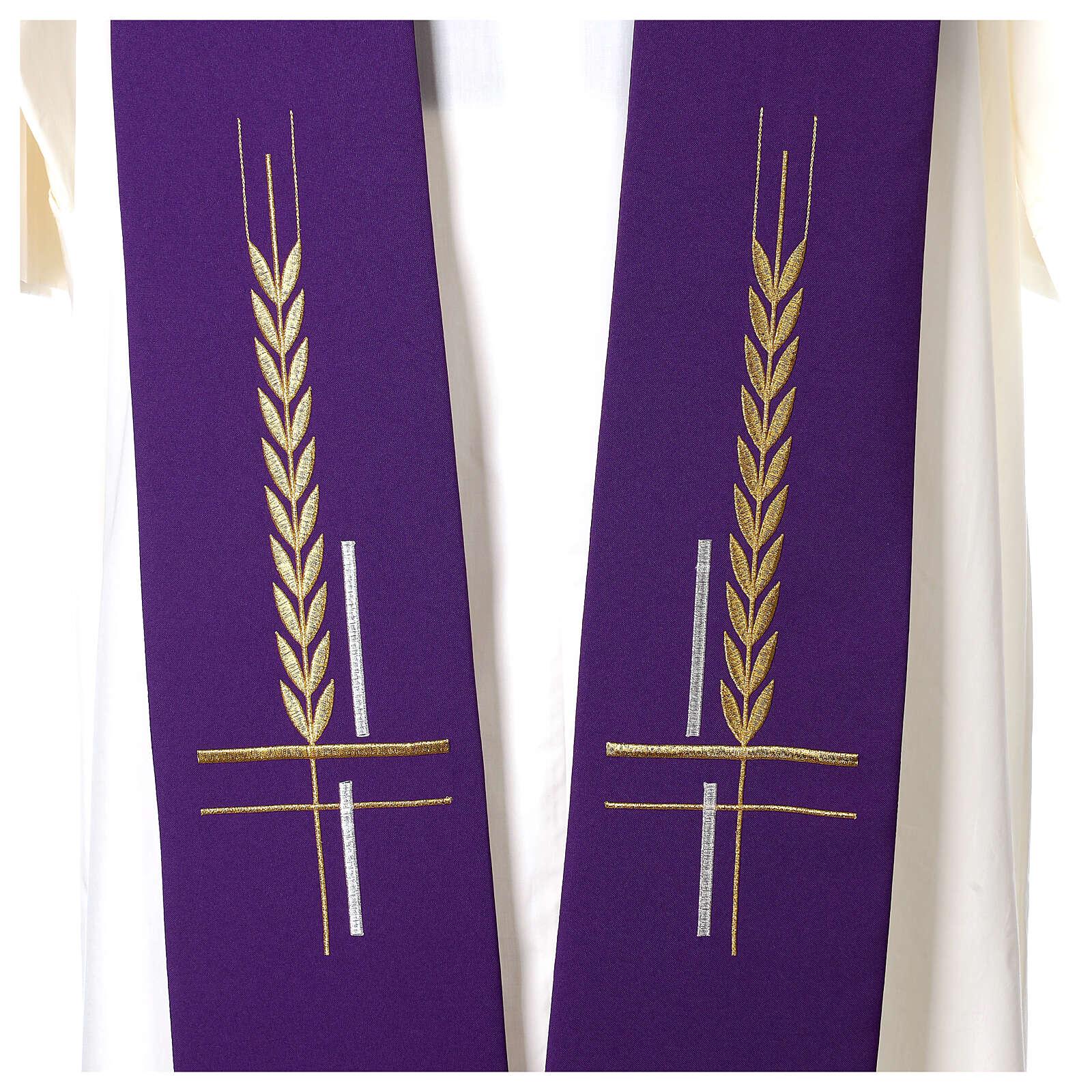 Estolão 100% poliéster bordado cruz trigo 4