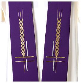 Estolão 100% poliéster bordado cruz trigo s2