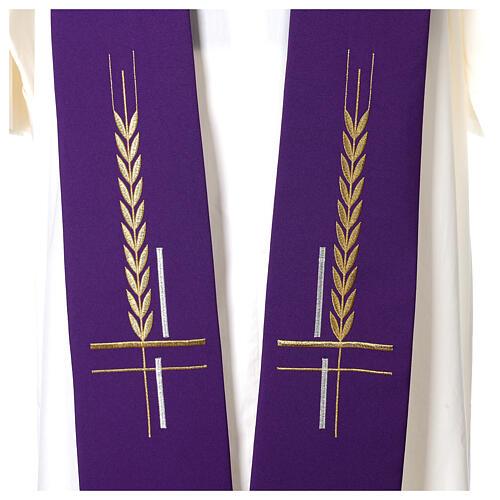 Estolão 100% poliéster bordado cruz trigo 2