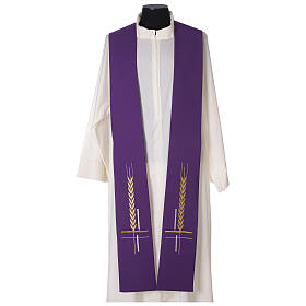 Clergy Stole in 100% polyester with ear of wheat embroidery s1