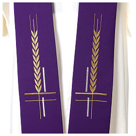 Clergy Stole in 100% polyester with ear of wheat embroidery s2