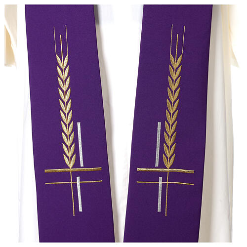 Clergy Stole in 100% polyester with ear of wheat embroidery 2