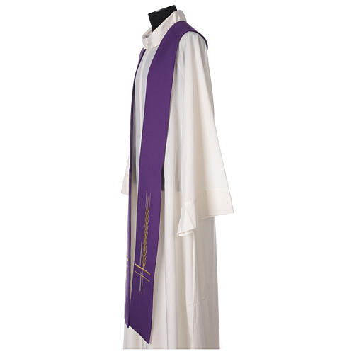 Clergy Stole in 100% polyester with ear of wheat embroidery 3