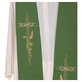 Stole in 100% polyester with cross and ear of wheat s2