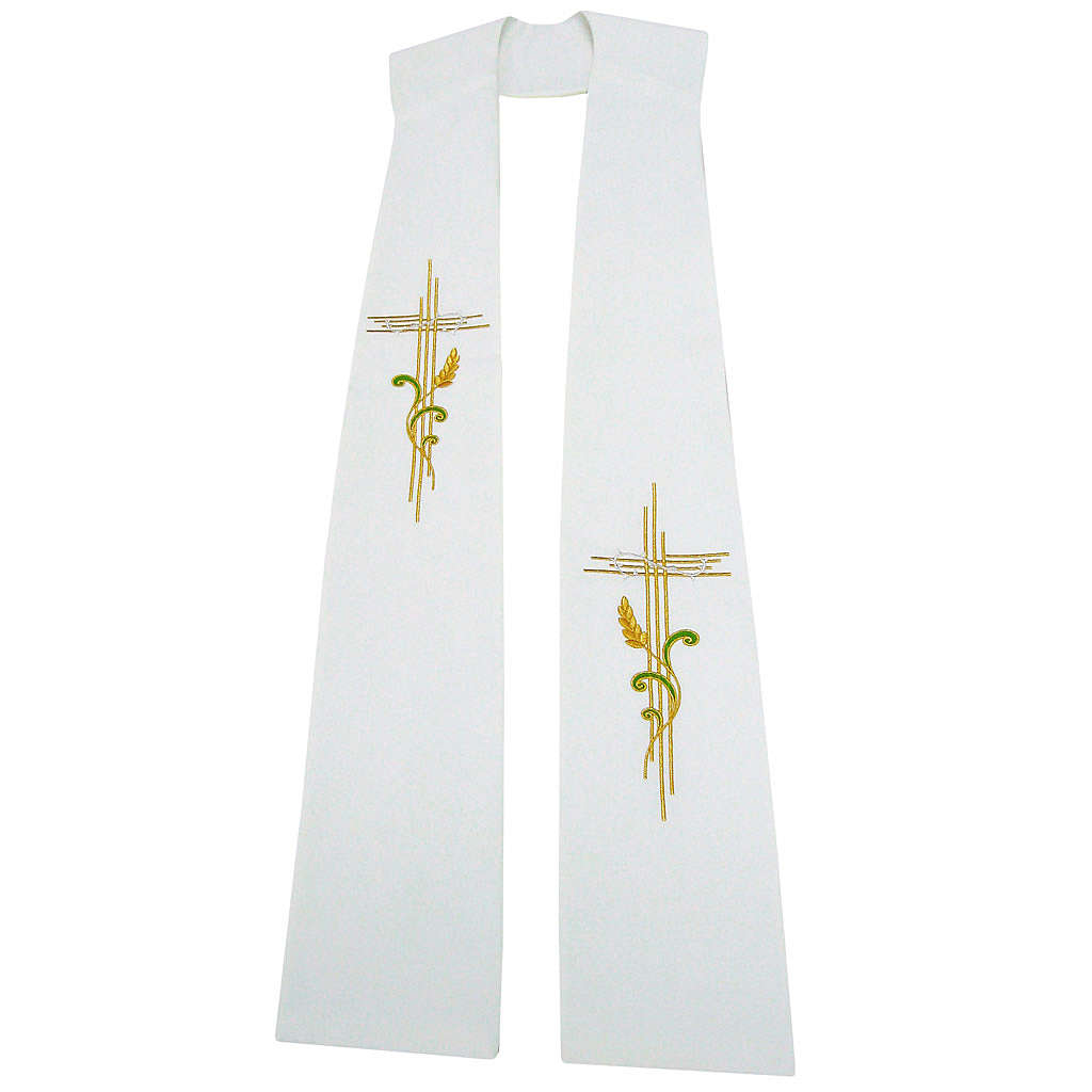 Stuła szeroka krzyż i kłos 100% poliester 4