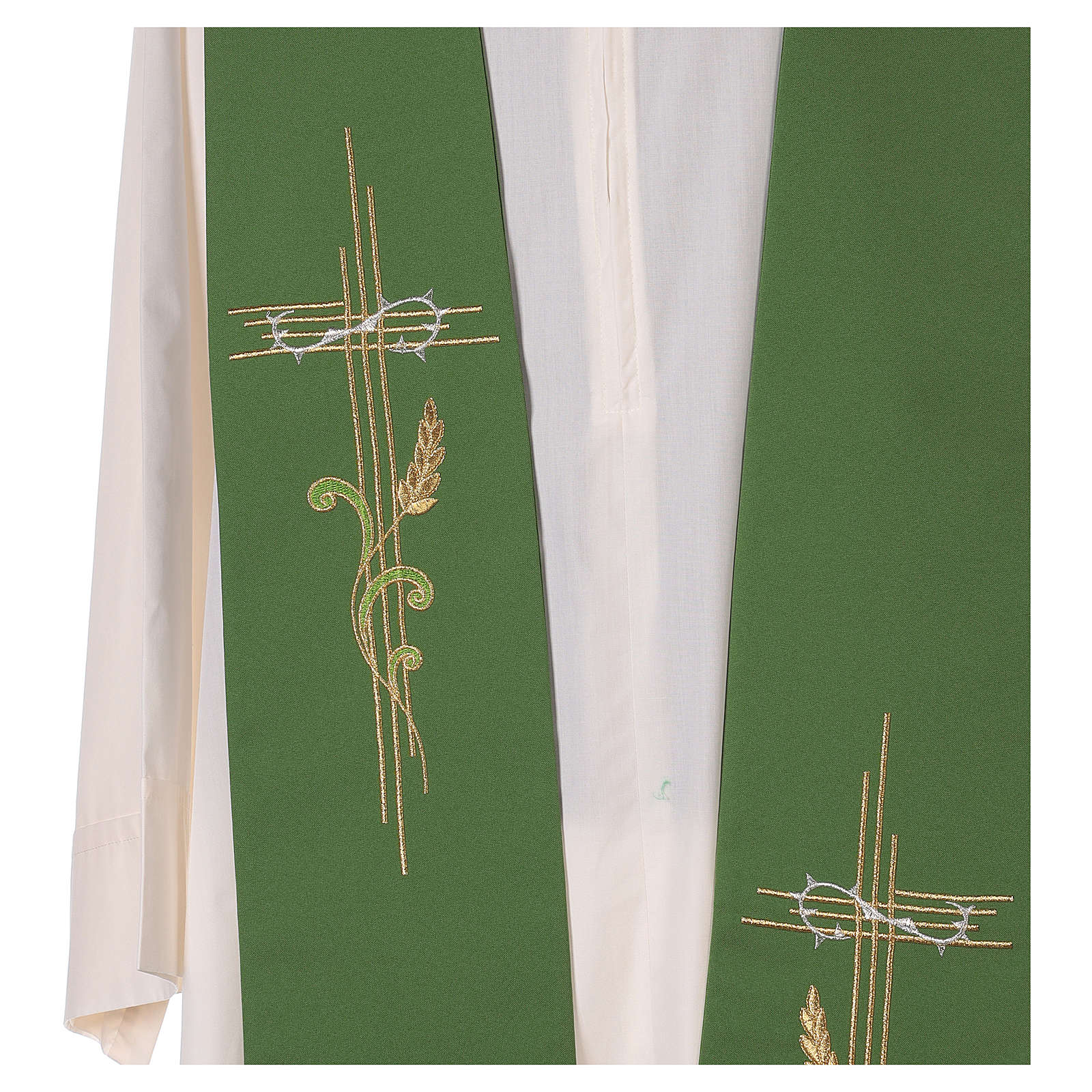Minister Stole in 100% polyester with cross and ear of wheat 4