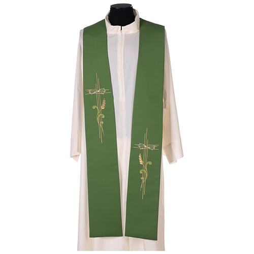 Minister Stole in 100% polyester with cross and ear of wheat 1