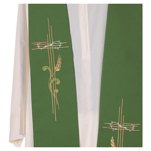 Minister Stole in 100% polyester with cross and ear of wheat 2