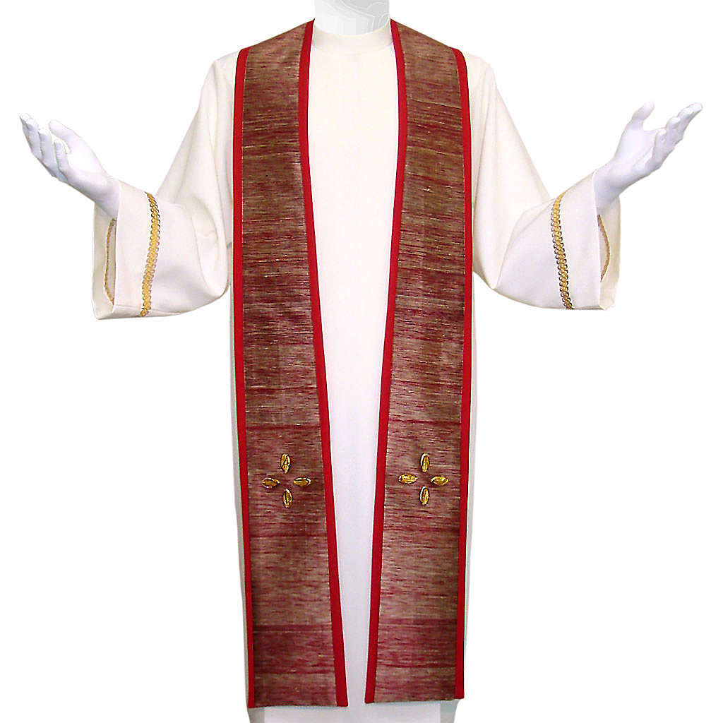 Clergy Stole in pure wool, embroidery in shantung silk, murano glass 4