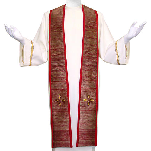 Clergy Stole in pure wool, embroidery in shantung silk, murano glass 1
