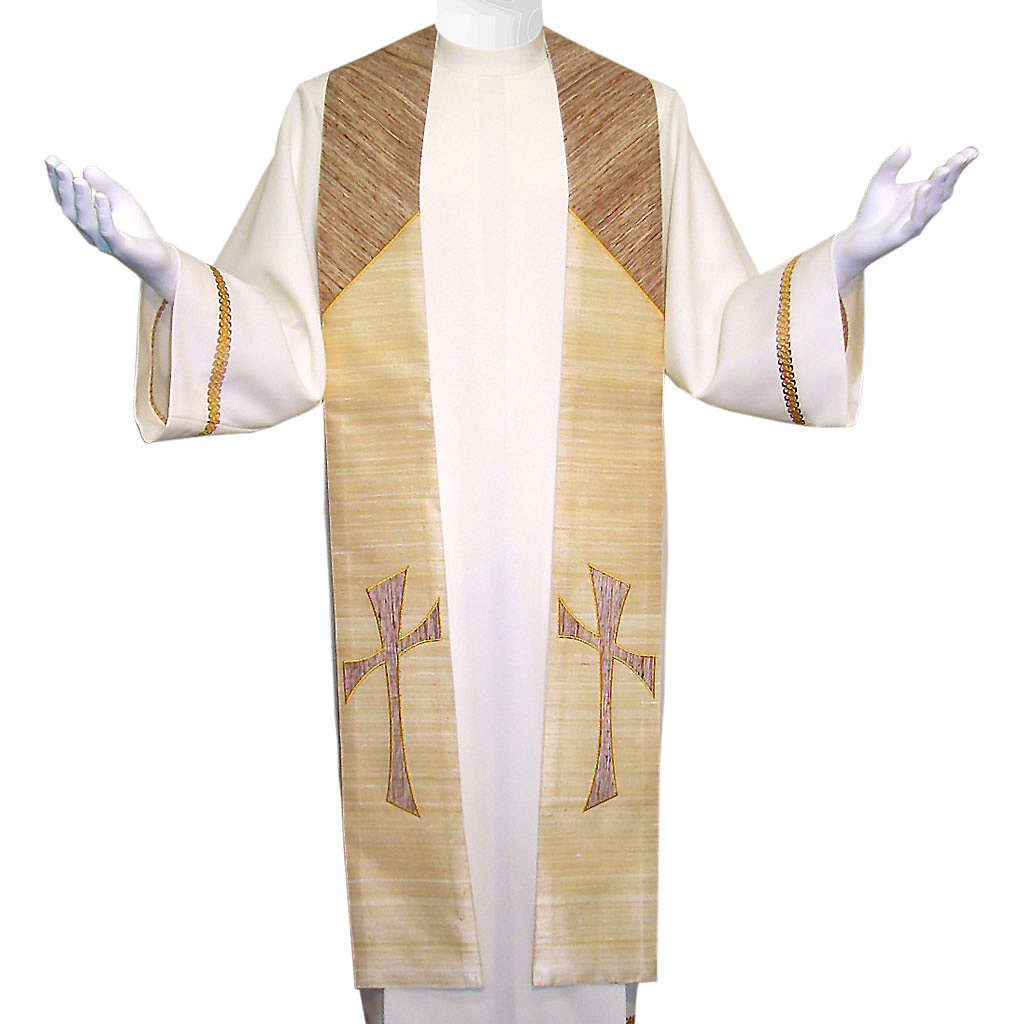 Clergy Stole in 100% pure shantung silk, with cross 4