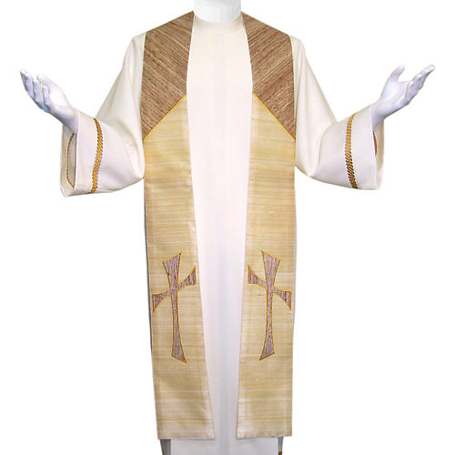 Clergy Stole in 100% pure shantung silk, with cross 1
