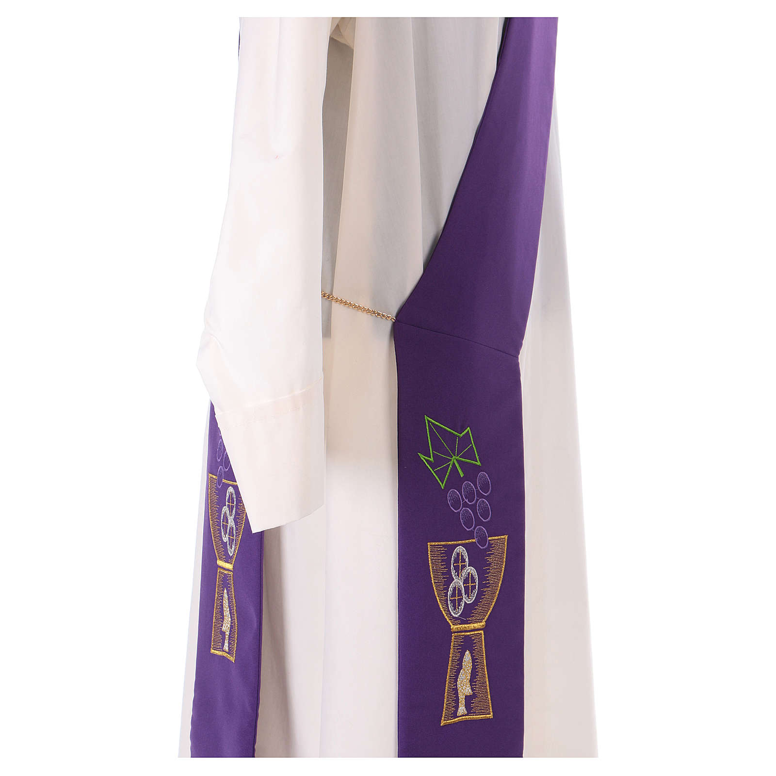 Diaconal stole in polyester with chalice and grapes embroidery 4