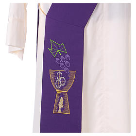 Diaconal stole in polyester with chalice and grapes embroidery s2