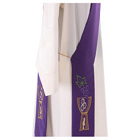 Diaconal stole in polyester with chalice and grapes embroidery s4
