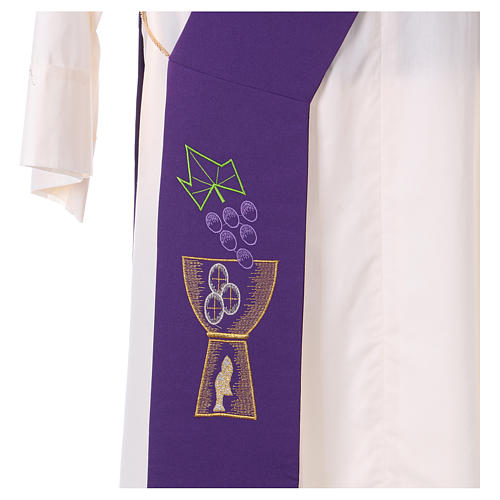 Diaconal stole in polyester with chalice and grapes embroidery 2