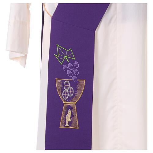 Stola diaconale 100% poliestere calice uva 2