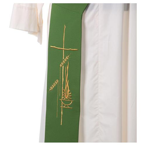 Diakon Stola mit Laterne Kreuz und Weizenähre aus Polyester 2