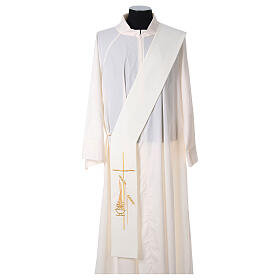 Diaconal stole in polyester with lamp, cross, ear of wheat embro s5