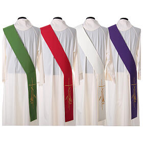 Diaconal stole in polyester with lamp, cross, ear of wheat embro s8